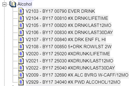 This is the mini-codebook for the alcohol variables.